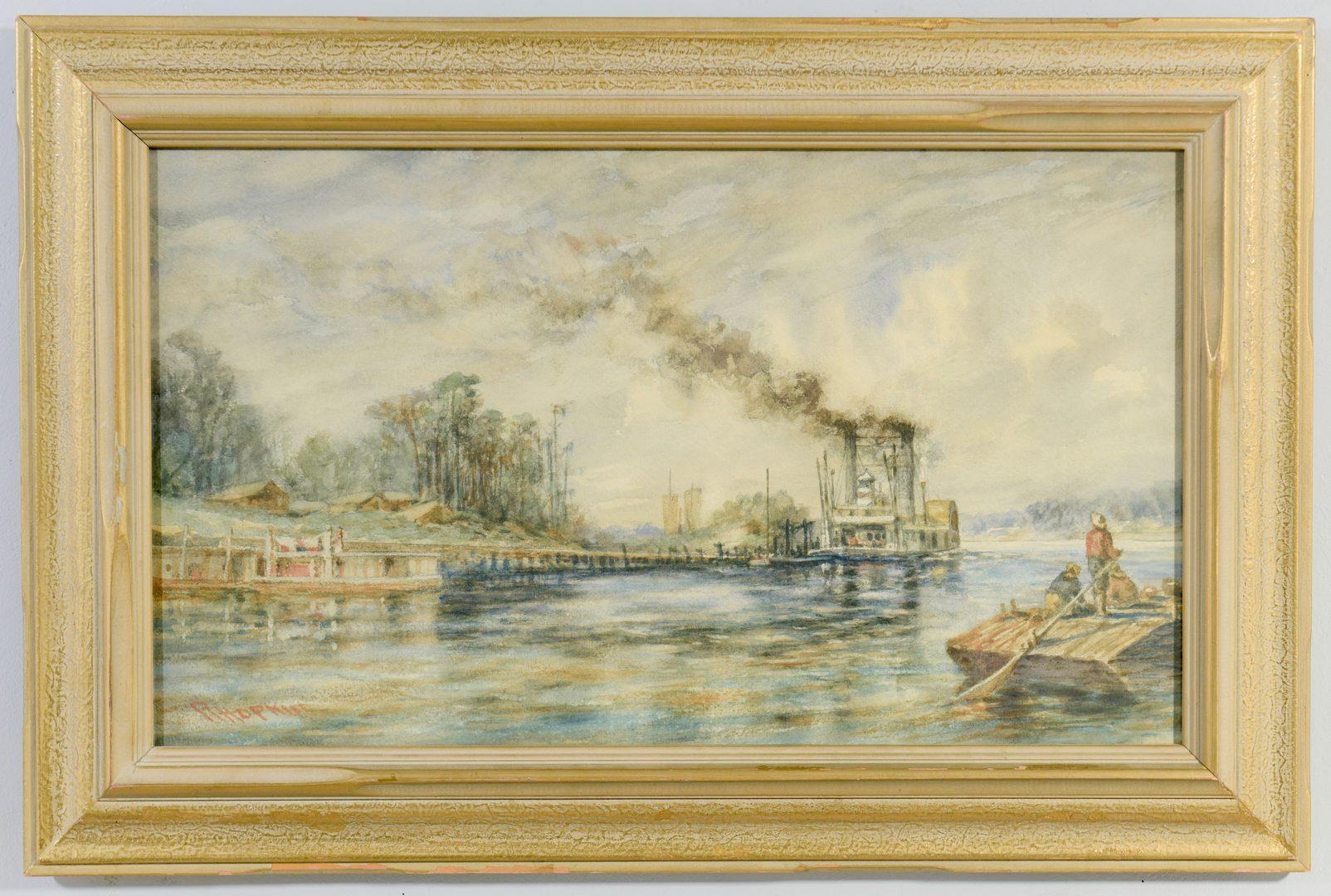 Lot 548: Robert Hopkin Landscape with Riverboat