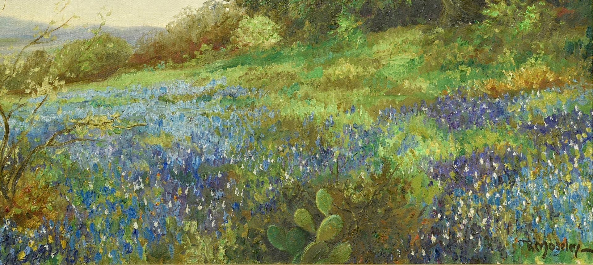 Lot 549: Texas Bluebonnets o/c, signed
