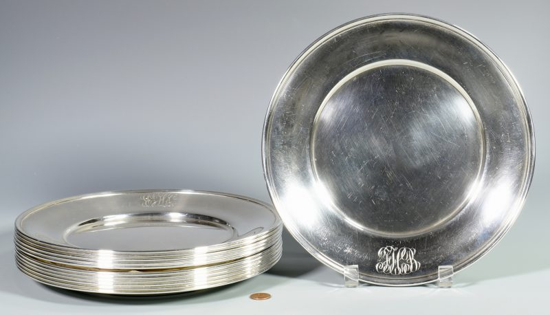 Lot 54: 12 Whiting Sterling Silver Plates, Monogrammed