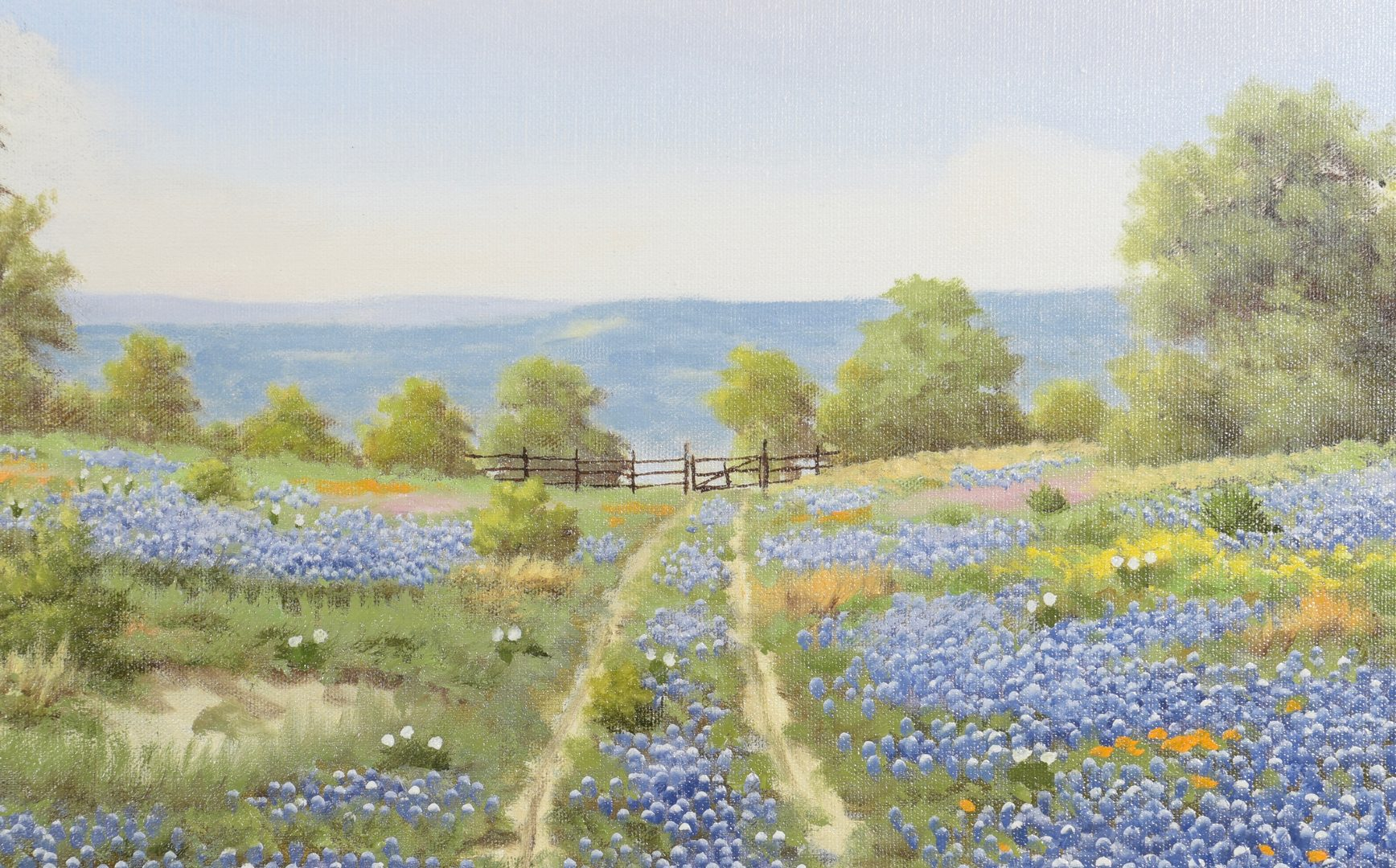 Lot 550: Paul Turner Oil on Canvas, Bluebonnets