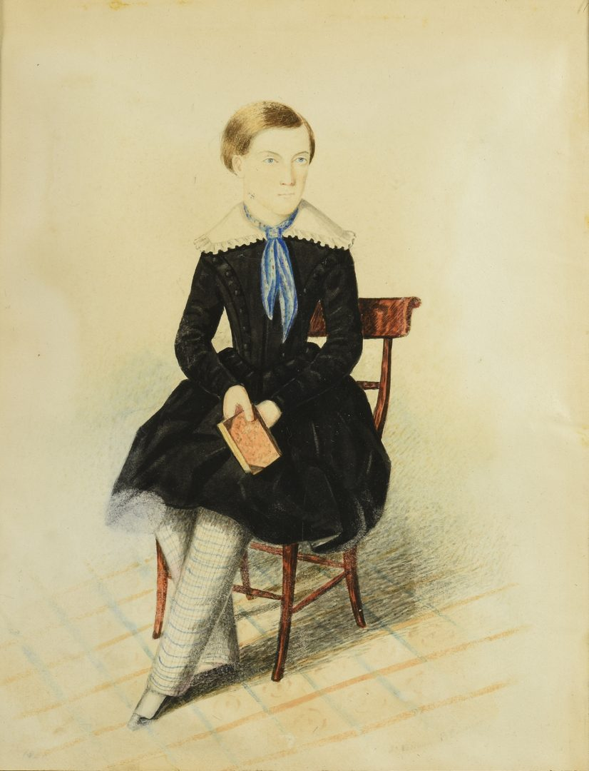 Lot 552: Pair of Watercolor Portraits of Seated Children