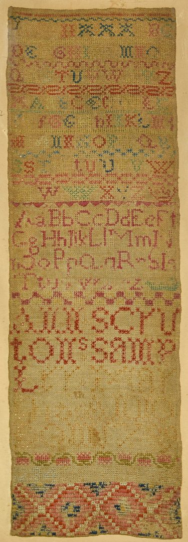Lot 554: 18th Cent. English Sampler, Ann Scruton