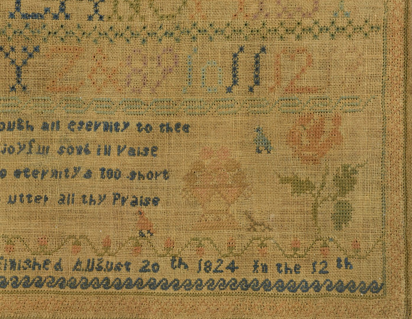 Lot 555: 1824 Needlework Sampler, attrib Kentucky