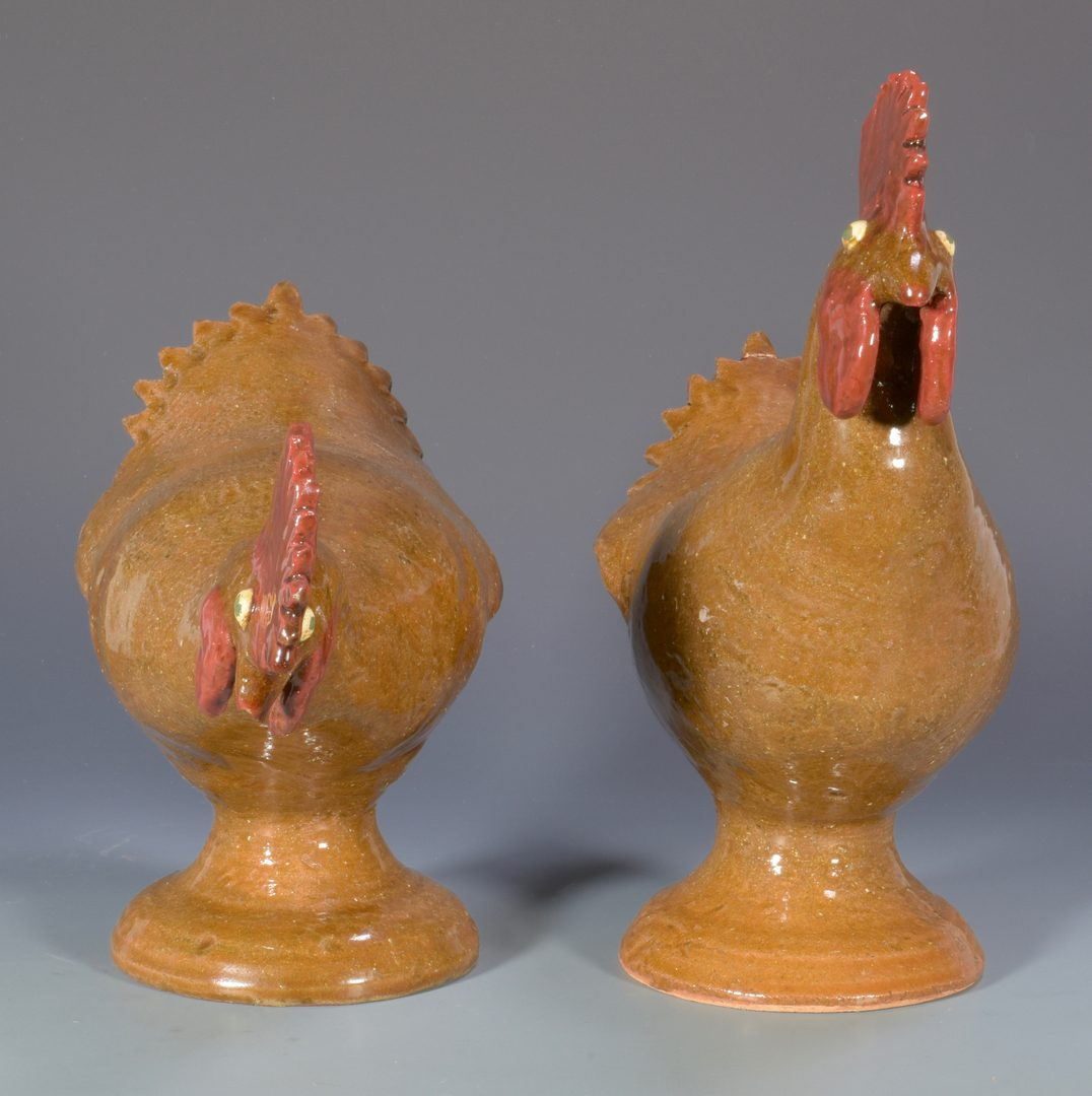 Lot 559: 2 Reggie Meaders Southern Folk Pottery Roosters