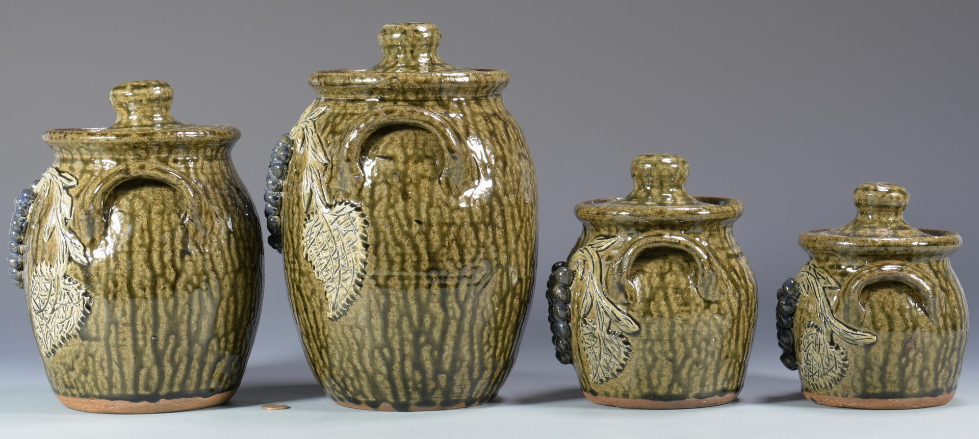 Lot 560: Georgia Folk Pottery Canister Set, Meaders