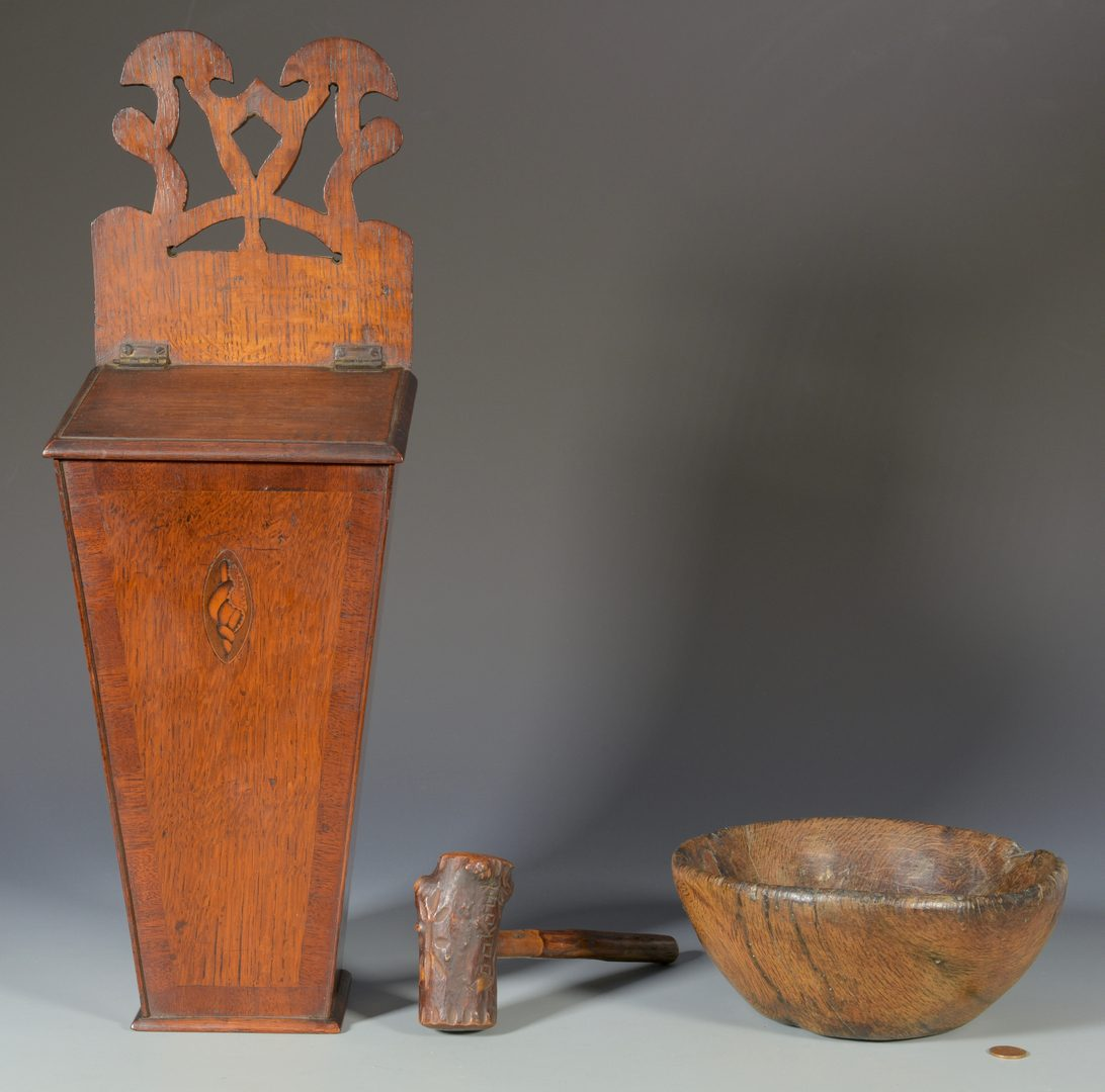 Lot 562: Candle Box, Burl Bowl, & Gavel