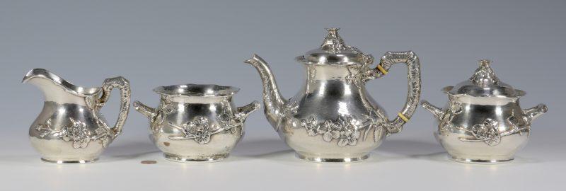 Lot 56: Gorham Hammered Aesthetic Silver Tea Service