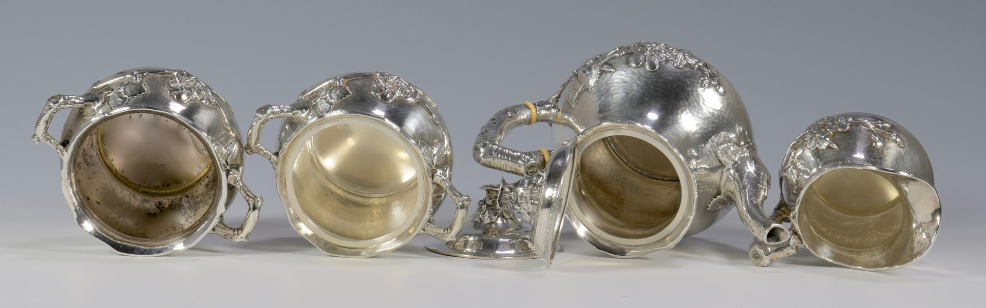 Lot 56: Gorham Hammered Aesthetic Silver Tea Service