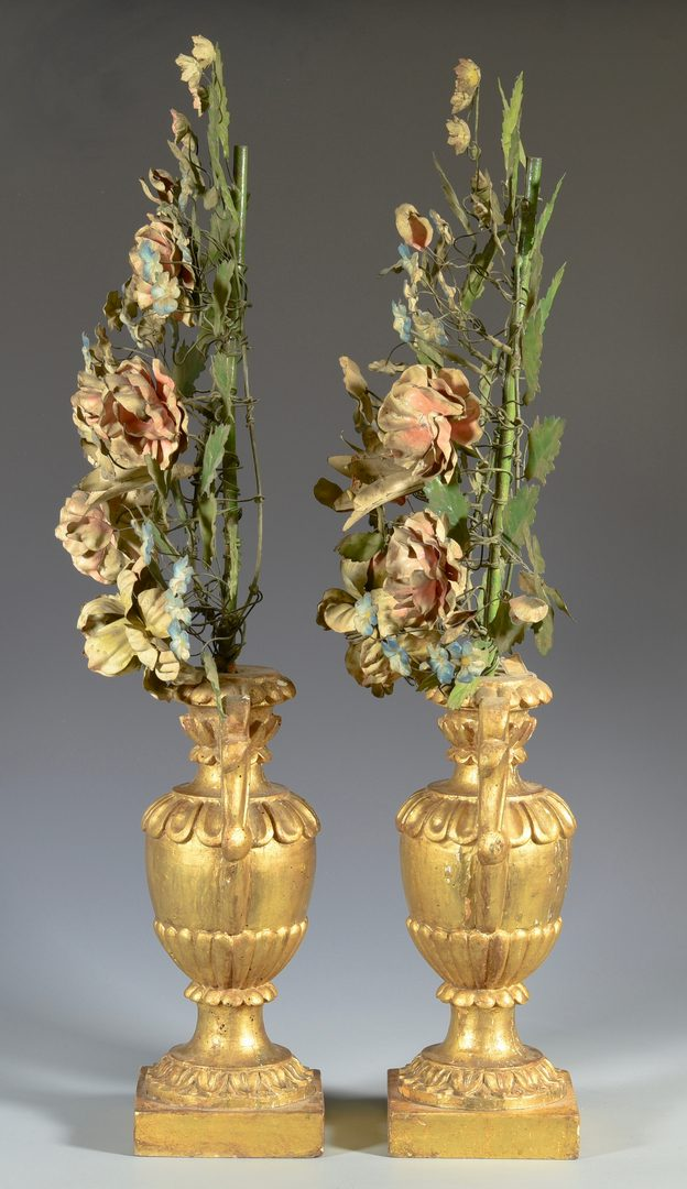 Lot 589: Pr. Gilt Wood & Painted Tole Table Ornaments