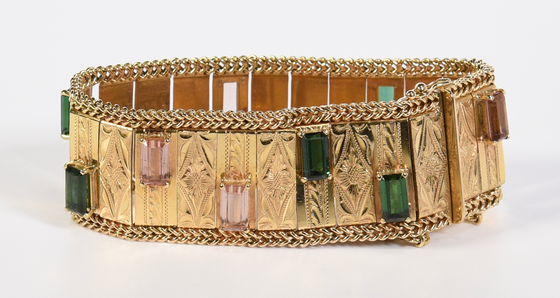 Lot 58: 18K Vintage Tourmaline Bracelet, 63.2 grams