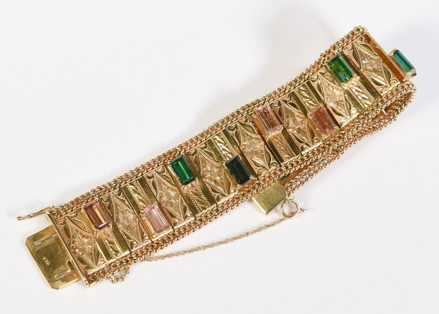 Lot 58: 18K Vintage Tourmaline Bracelet, 63.2 grams