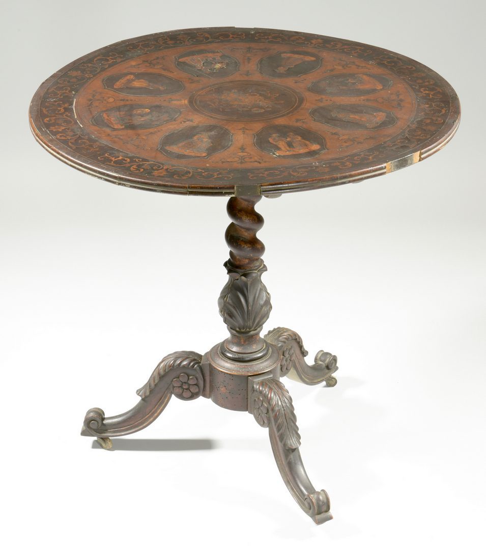 Lot 592: European Marquetry Center Tilt Table