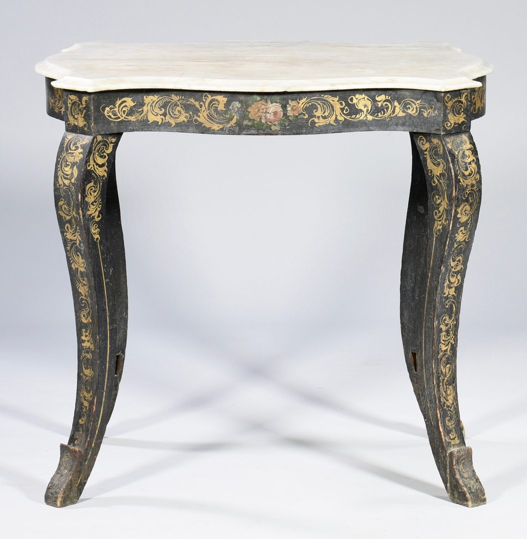 Lot 593: 19th c. Continental Painted Classical Table