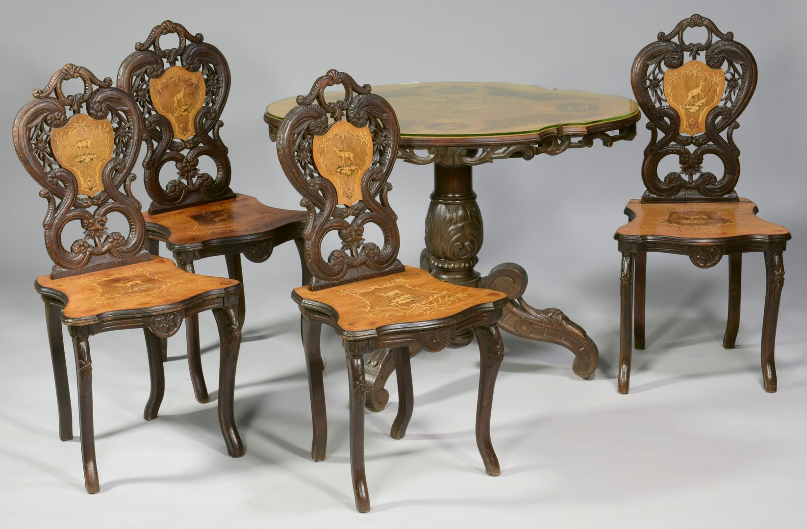 Lot 594: Edelweiss Brienz Table Suite w/ Music Box Chair