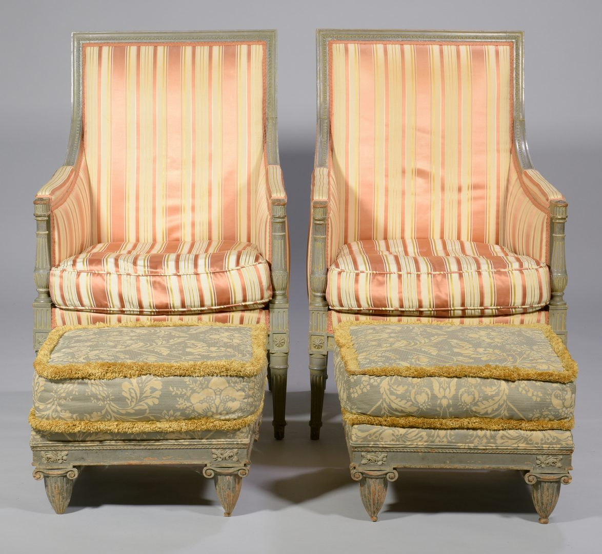 Lot 595: Pair Louis XVI Style Bergere Armchairs & Footstools