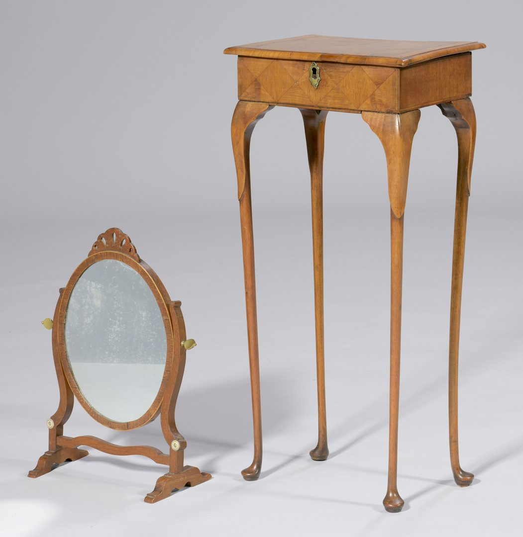 Lot 597: Petite Parquetry Table plus Shaving Mirror