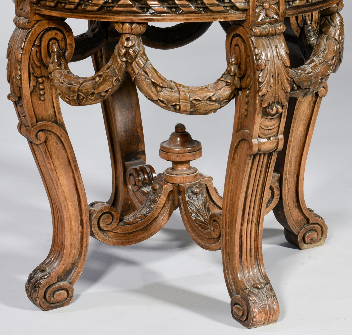 Lot 598: Continental Carved Stand w/ Marble Inset Top
