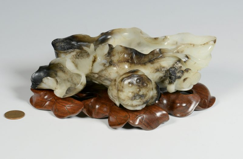 Lot 5: Carved Jade Brush Washer, Lotus Form