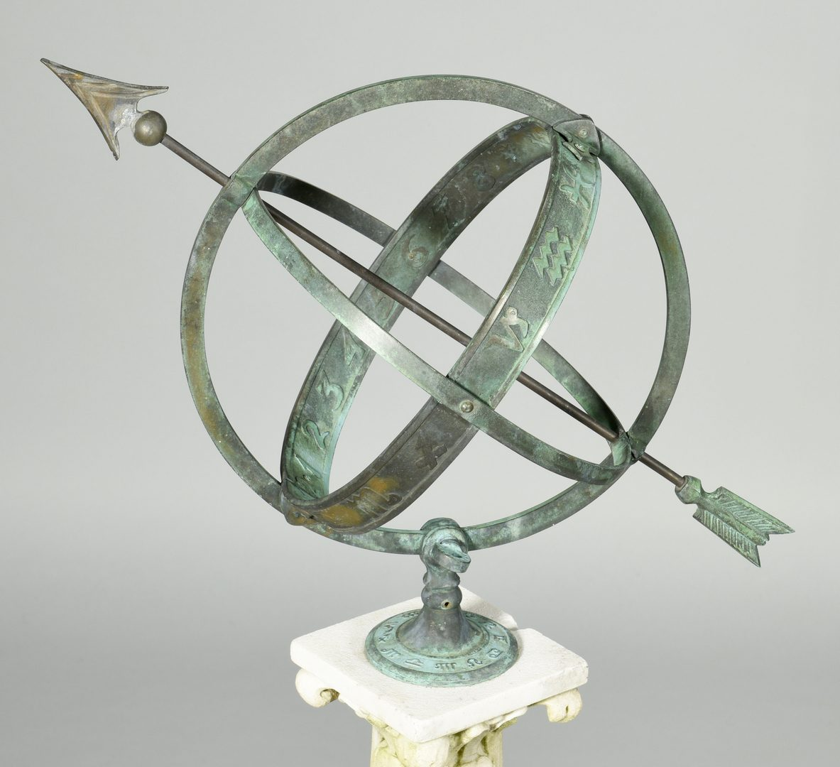 Lot 605: Armillary Sphere on Marble Pedestal