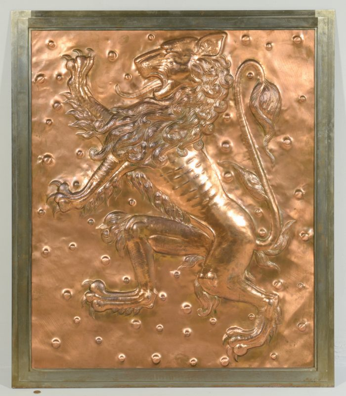 Lot 608: Copper Lion Bas Relief Plaque