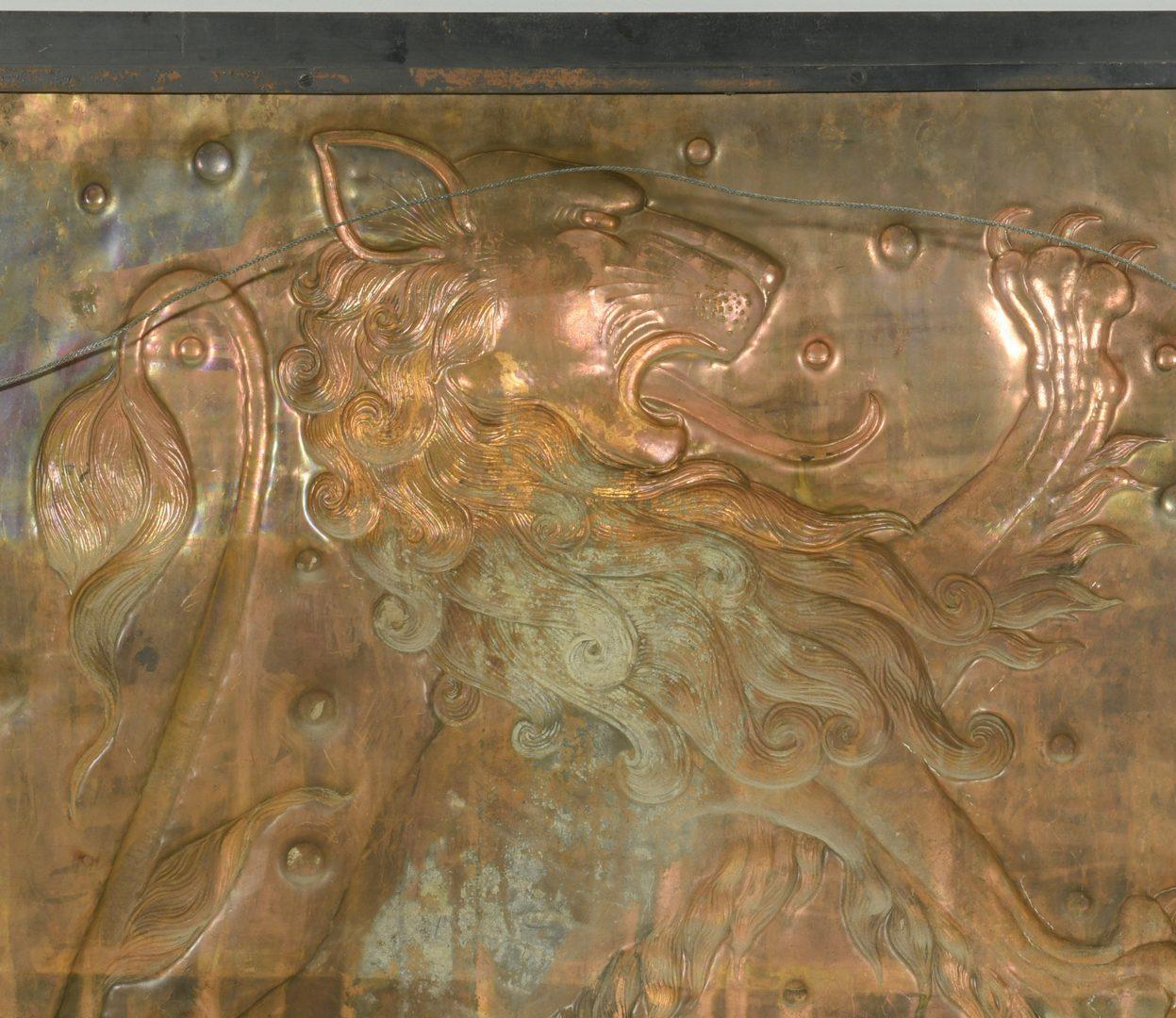 Lot 608: Copper Lion Bas Relief Plaque