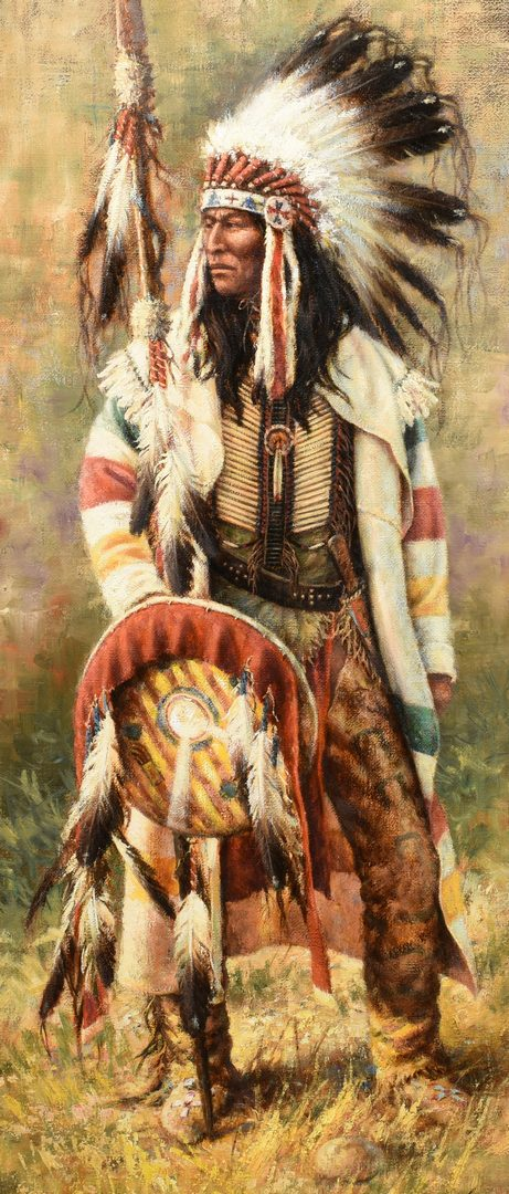 Lot 610: M. Martensen, large oil of Indian Chief