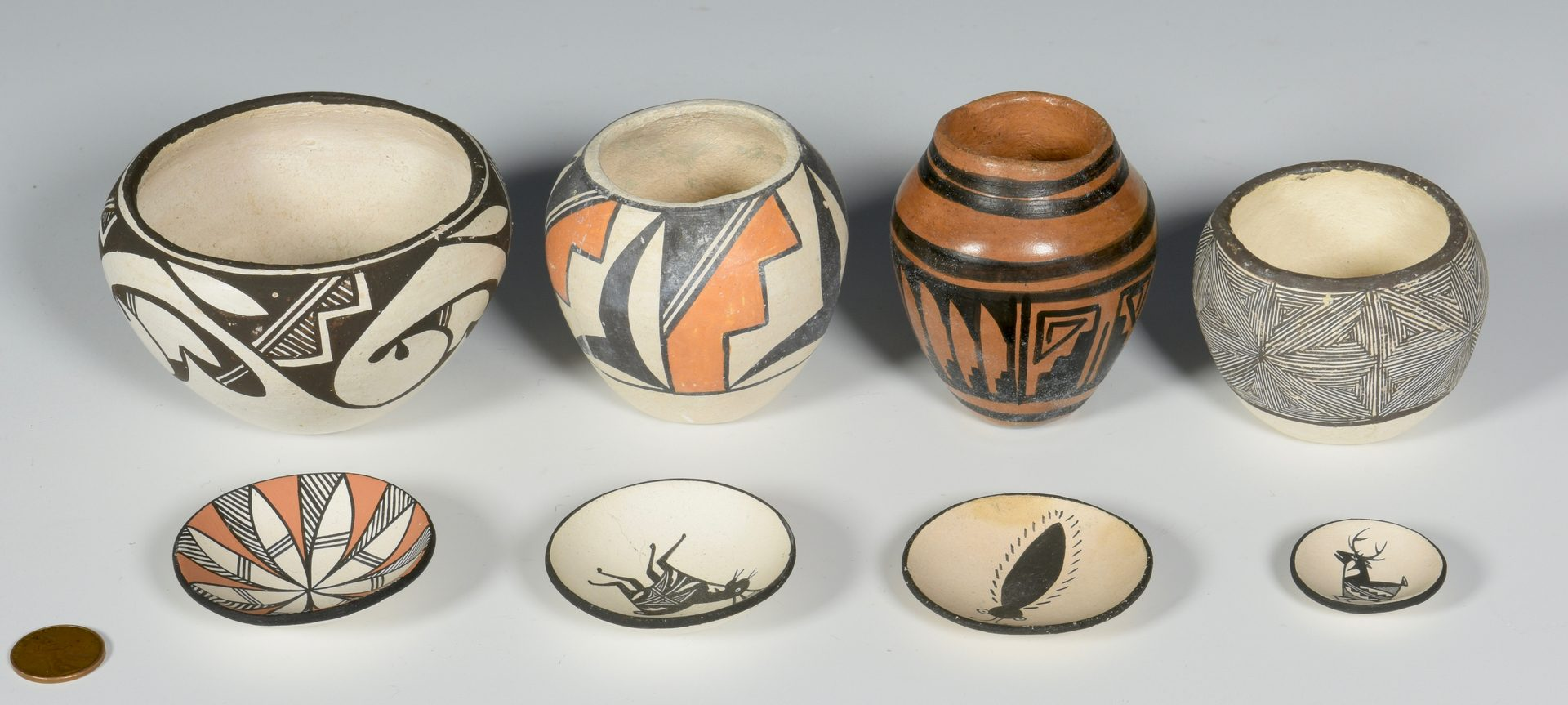 Lot 614: Group of Miniature SW Acoma Pottery and Dolls
