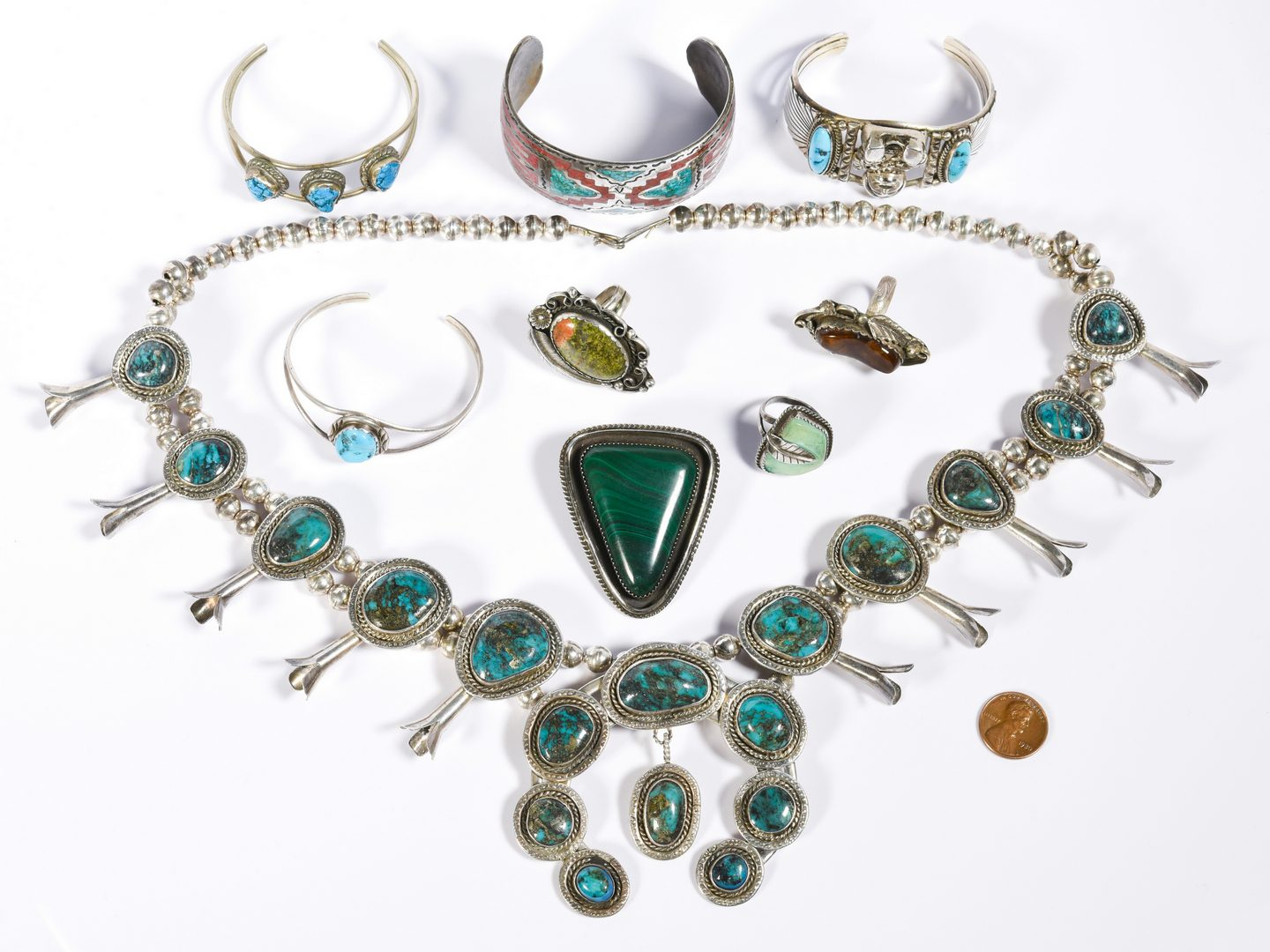 Lot 616: Native American Jewelry Grouping, 9 items