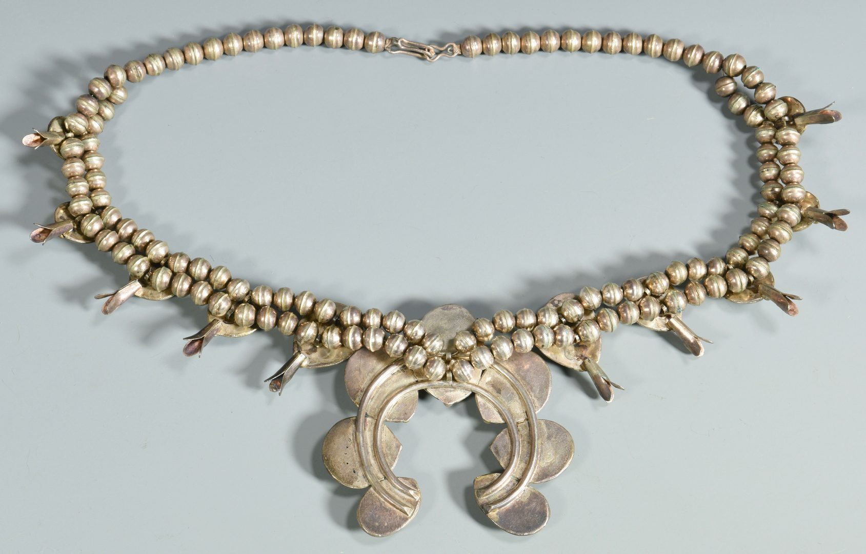 Lot 617: Navajo Sterling Squash Blossom Necklace