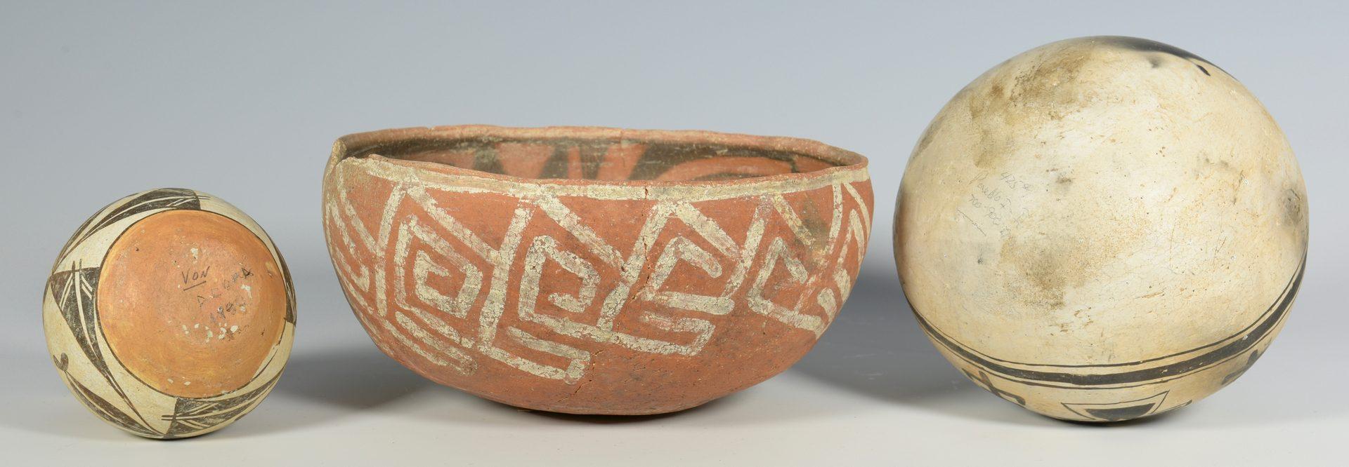 Lot 621: 3 Early Southwestern Pots inc. St. John's