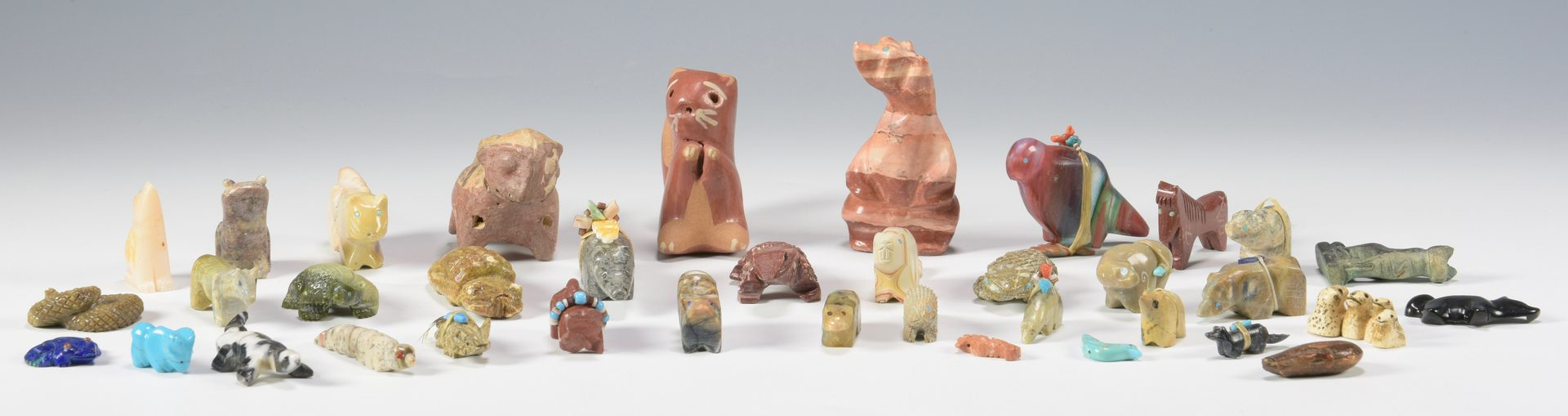 Lot 625: 40 Stone and Ceramic Fetishes, Native American