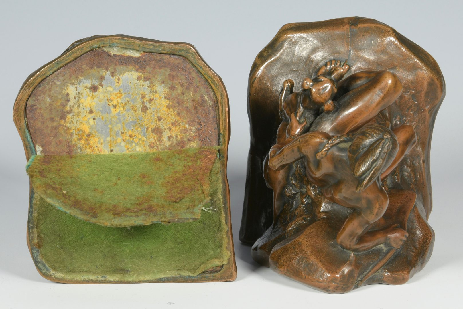 Lot 626: Pair Bronze-clad Bookends, Native American