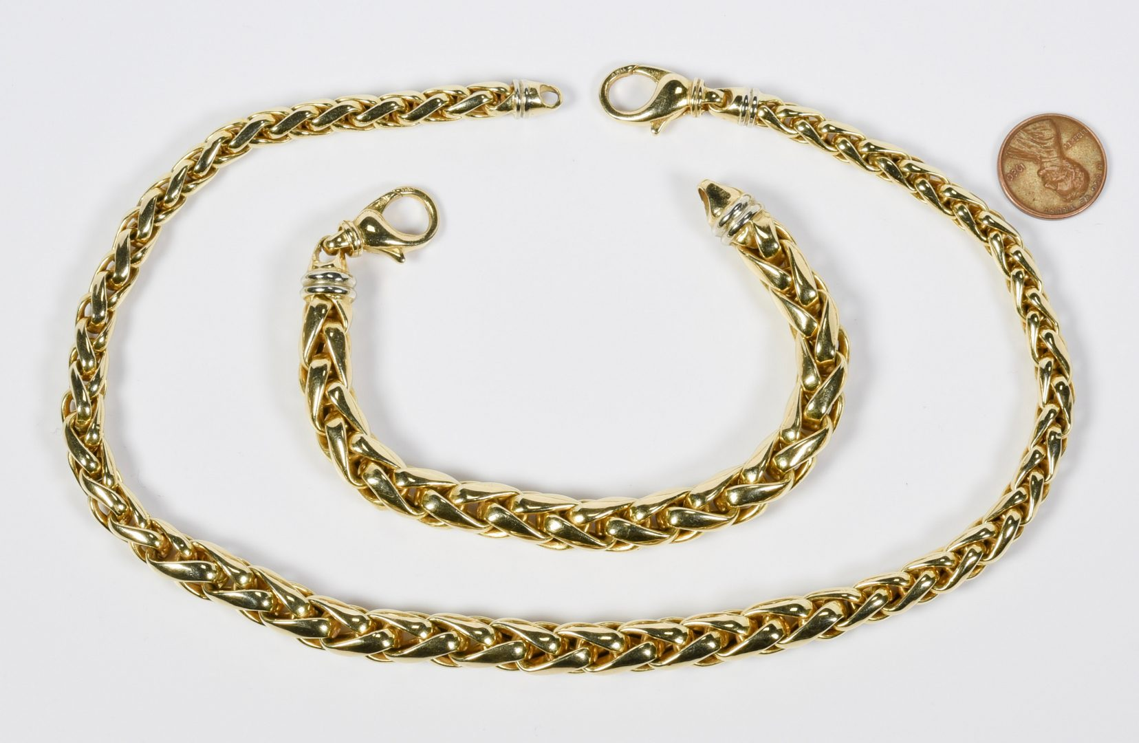 Lot 62: 14K Italian Necklace and Bracelet Set