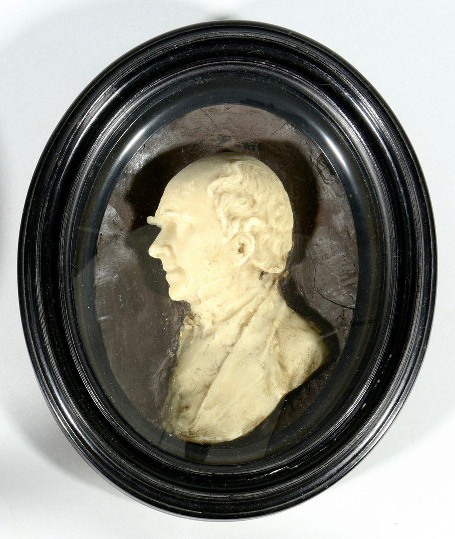 Lot 633: Pr. of 19th Cent. Gentleman Wax Portraits