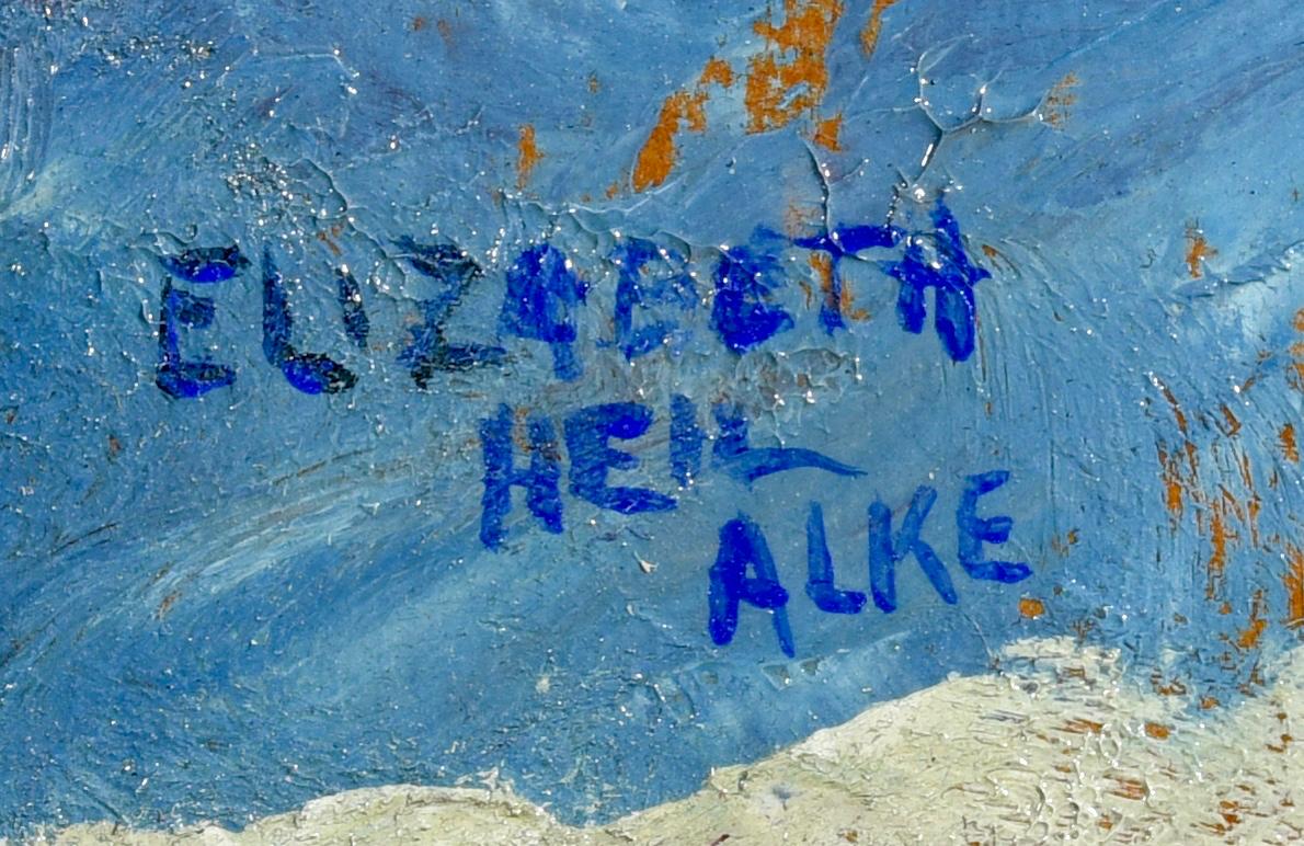 Lot 639: Elizabeth Alke Oil on Board Lake Scene