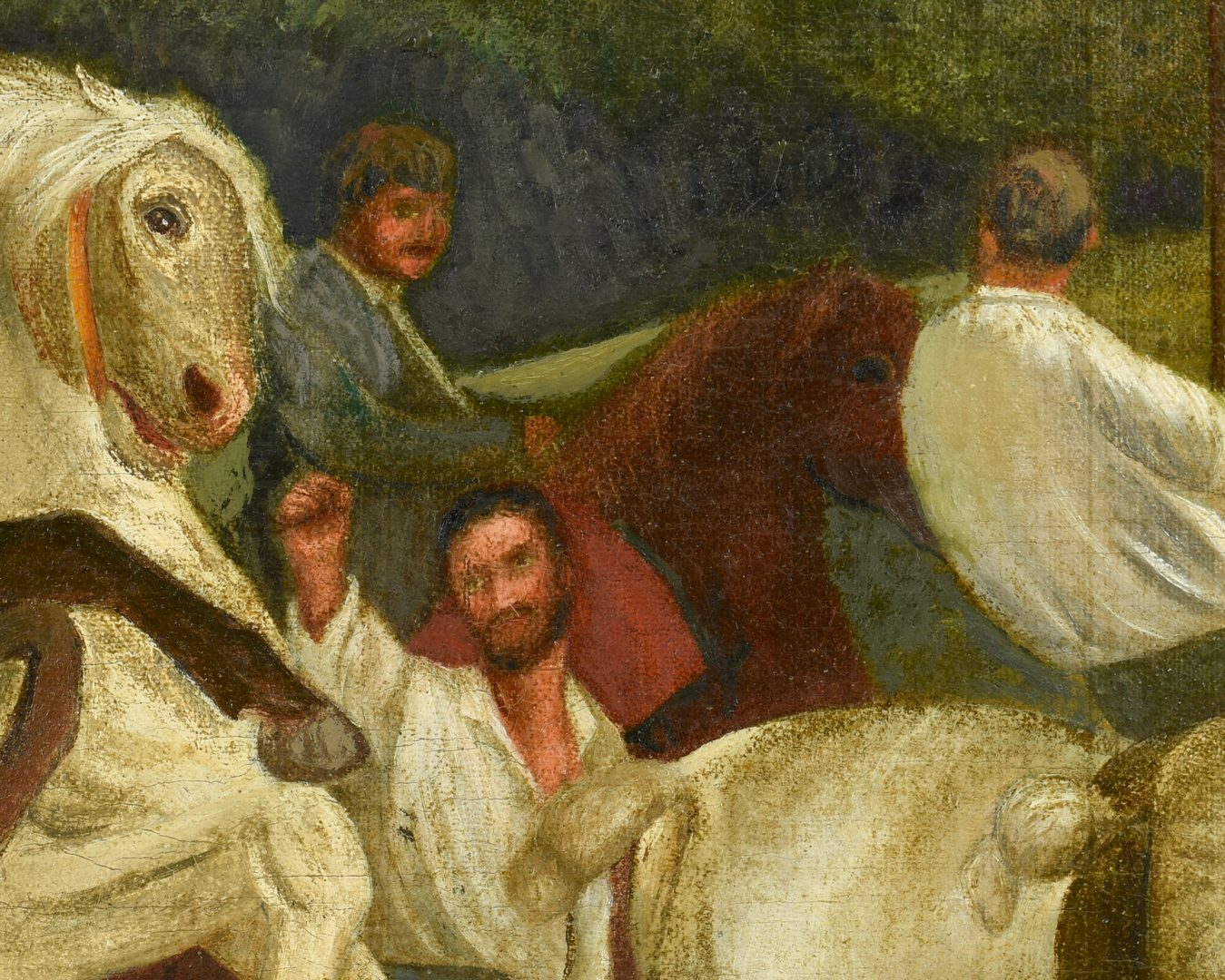 Lot 641: Panoramic Oil on Canvas Horse Procession