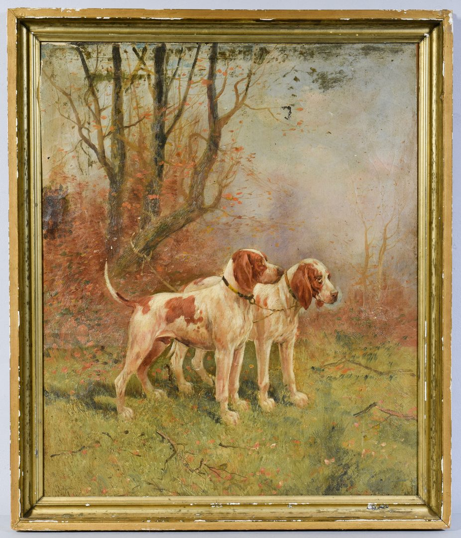 Lot 647:  English Pointers Oil on Canvas