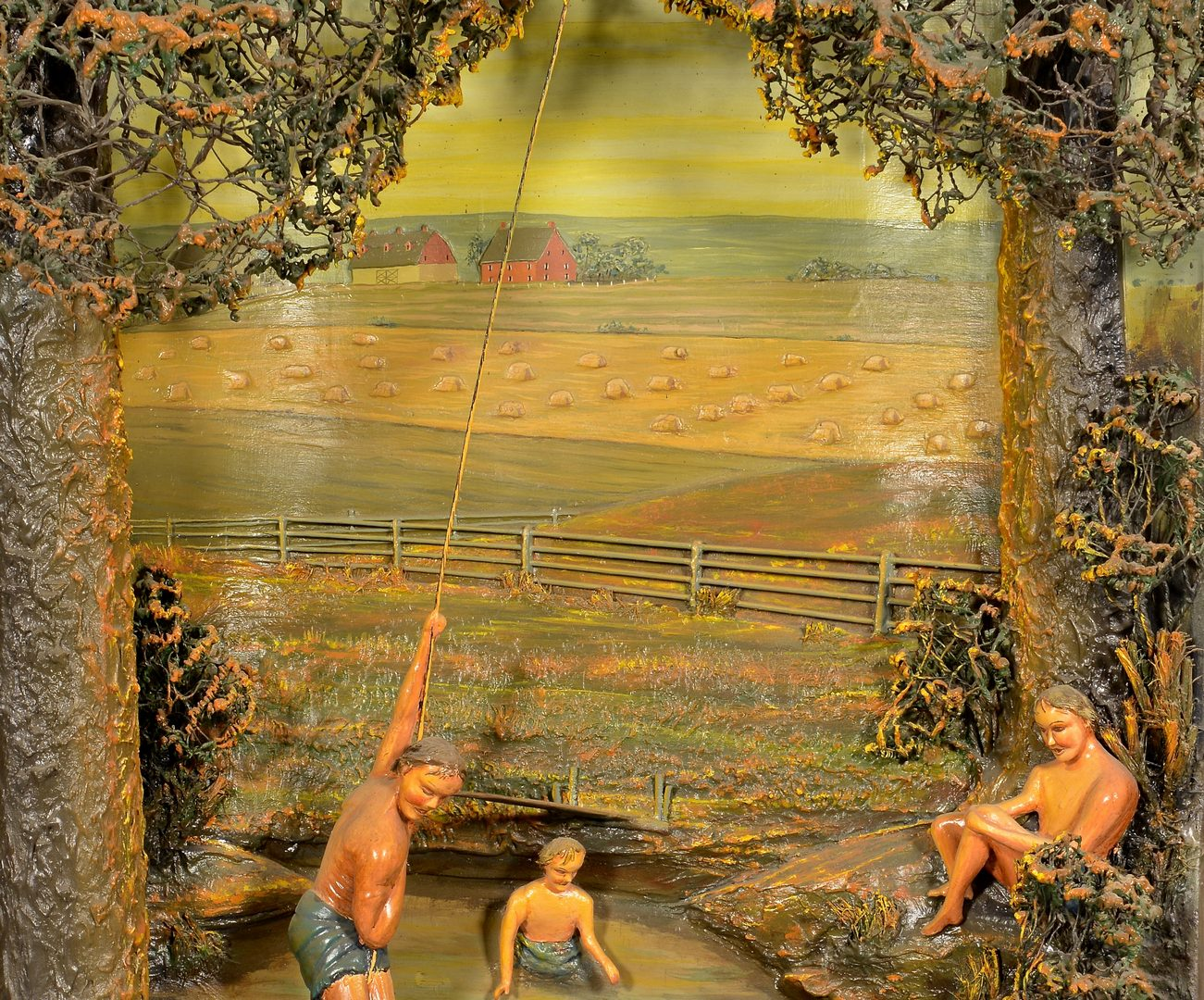 Lot 649: Swimming Folk Art Diorama Artwork by Aaron Zook