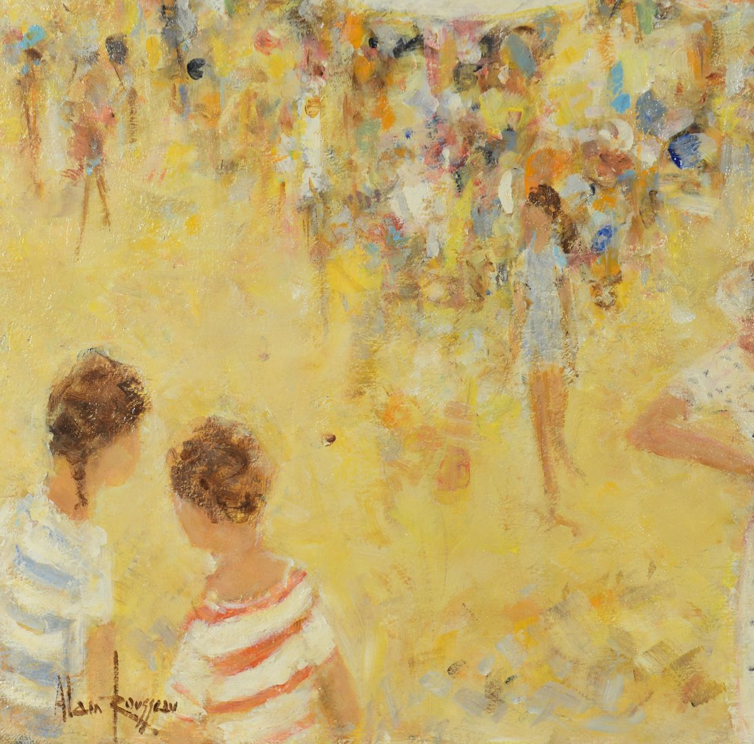Lot 650: Alain Rousseau o/c, Crowded Beach Scene