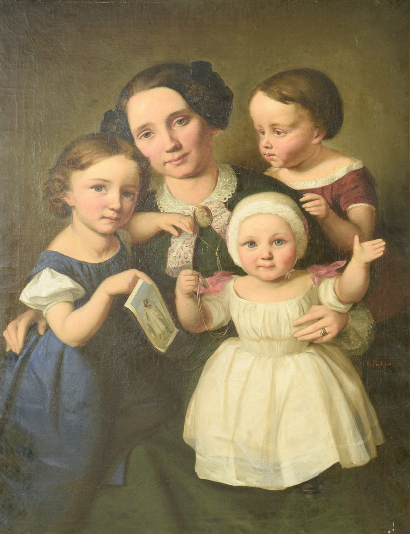 Lot 655: Continental Oil on Canvas Portrait Mother &  3 Children