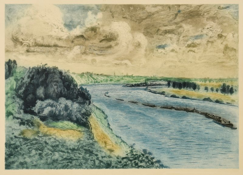 Lot 664: Renoir Etching, Chalands sur la Seine