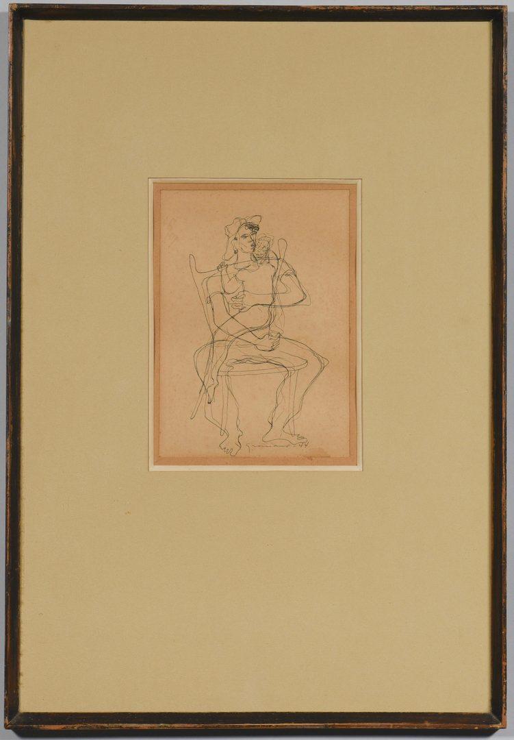 Lot 669: Clovis Graciano Mid-Century Drawing