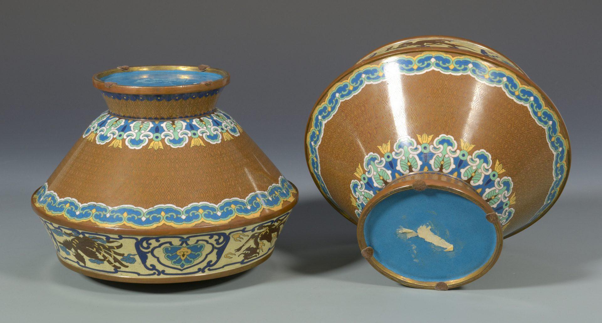 Lot 671: Pr. Asian Cloisonne Covered Vases
