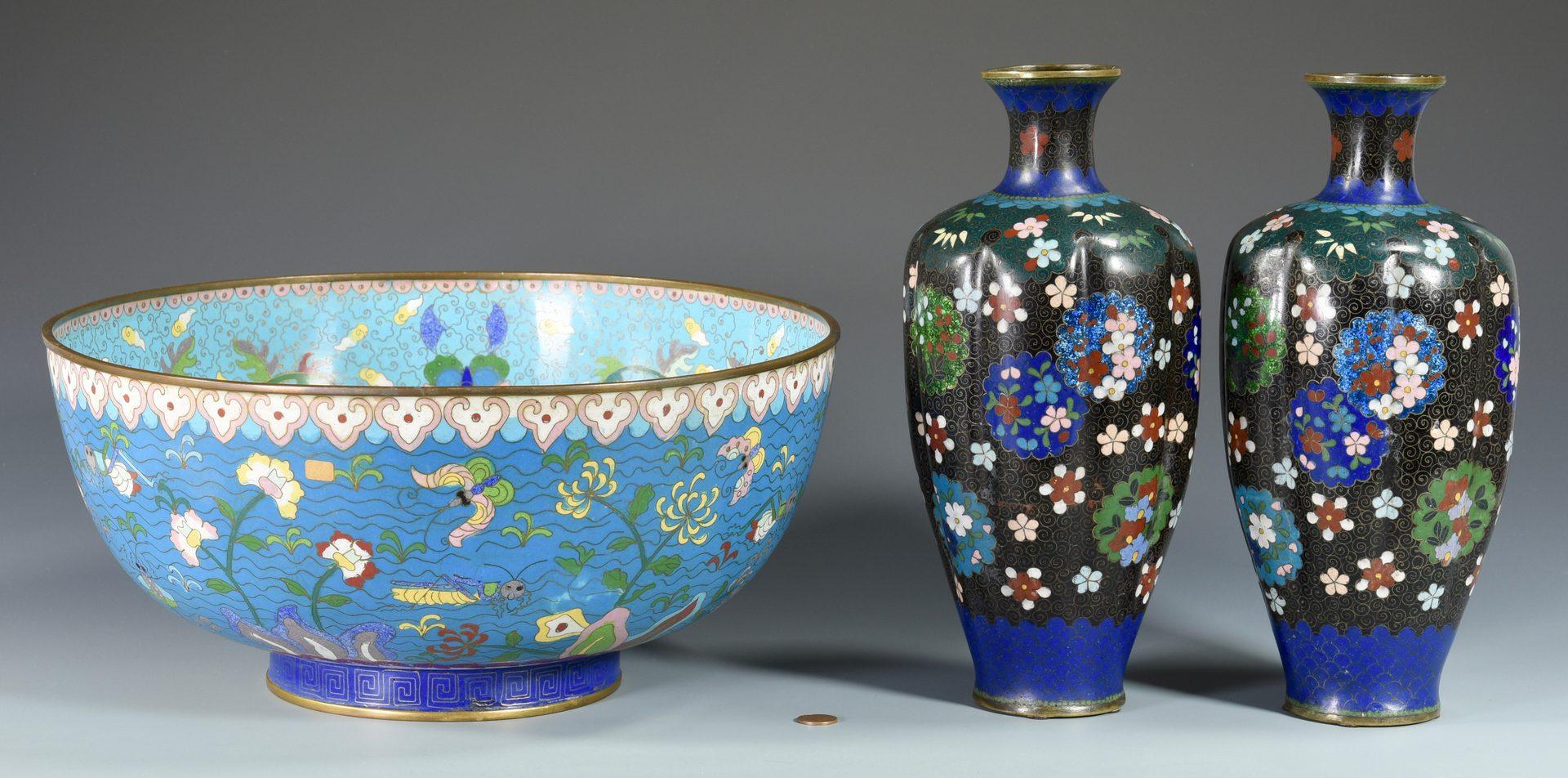 Lot 672: Pr. Asian Cloisonne Vases & Punchbowl