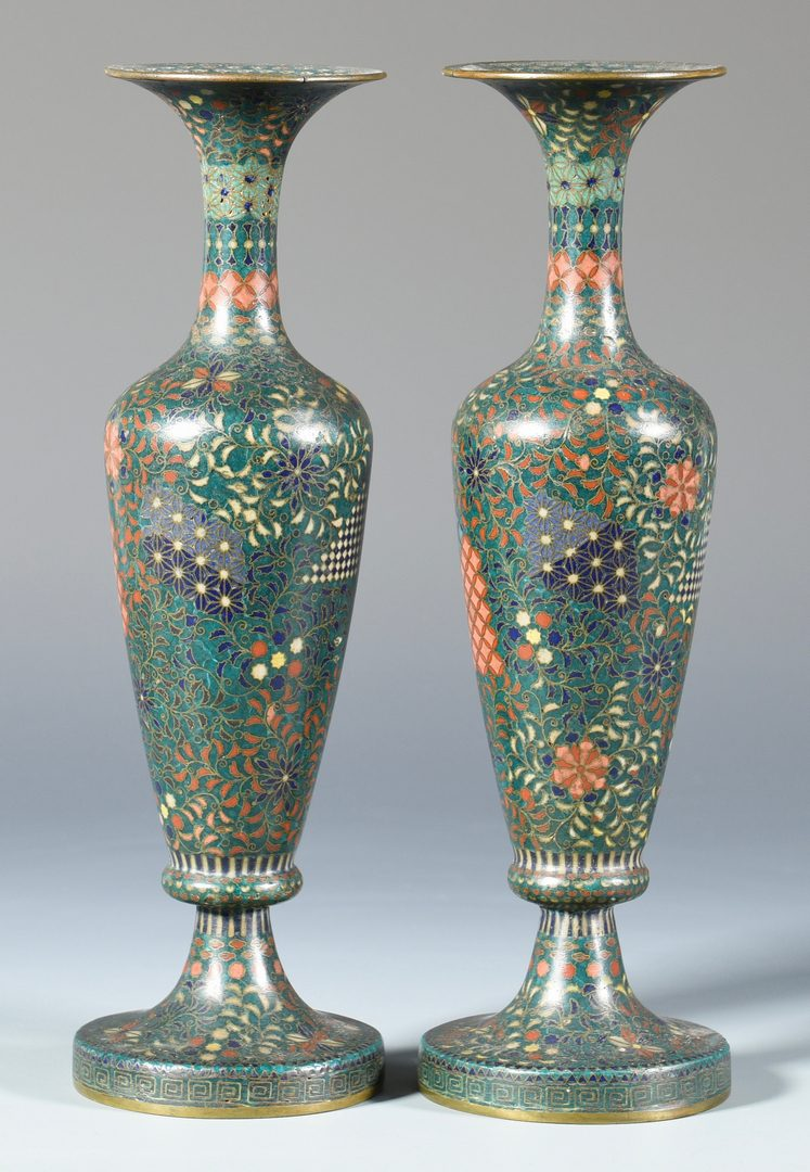 Lot 673: Pair of Japanese Cloisonne Vases