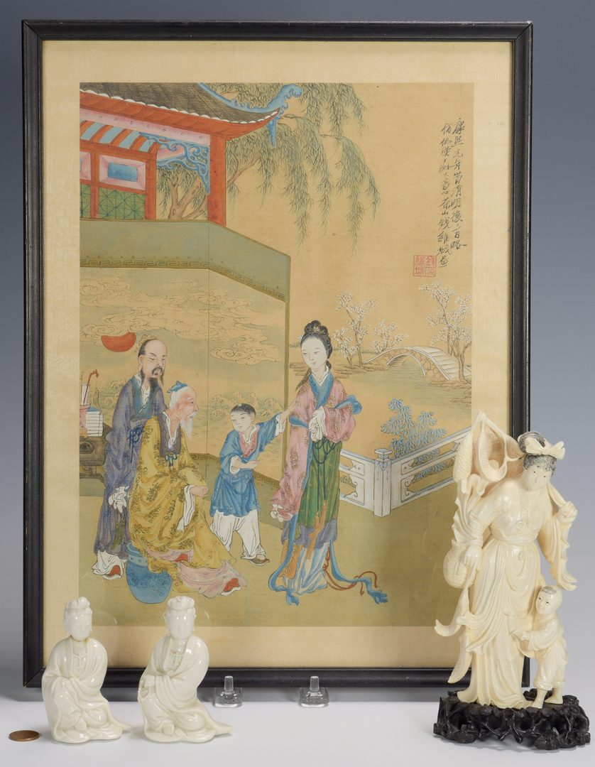 Lot 677: Blanc de Chine Guanyins and Painting on Silk