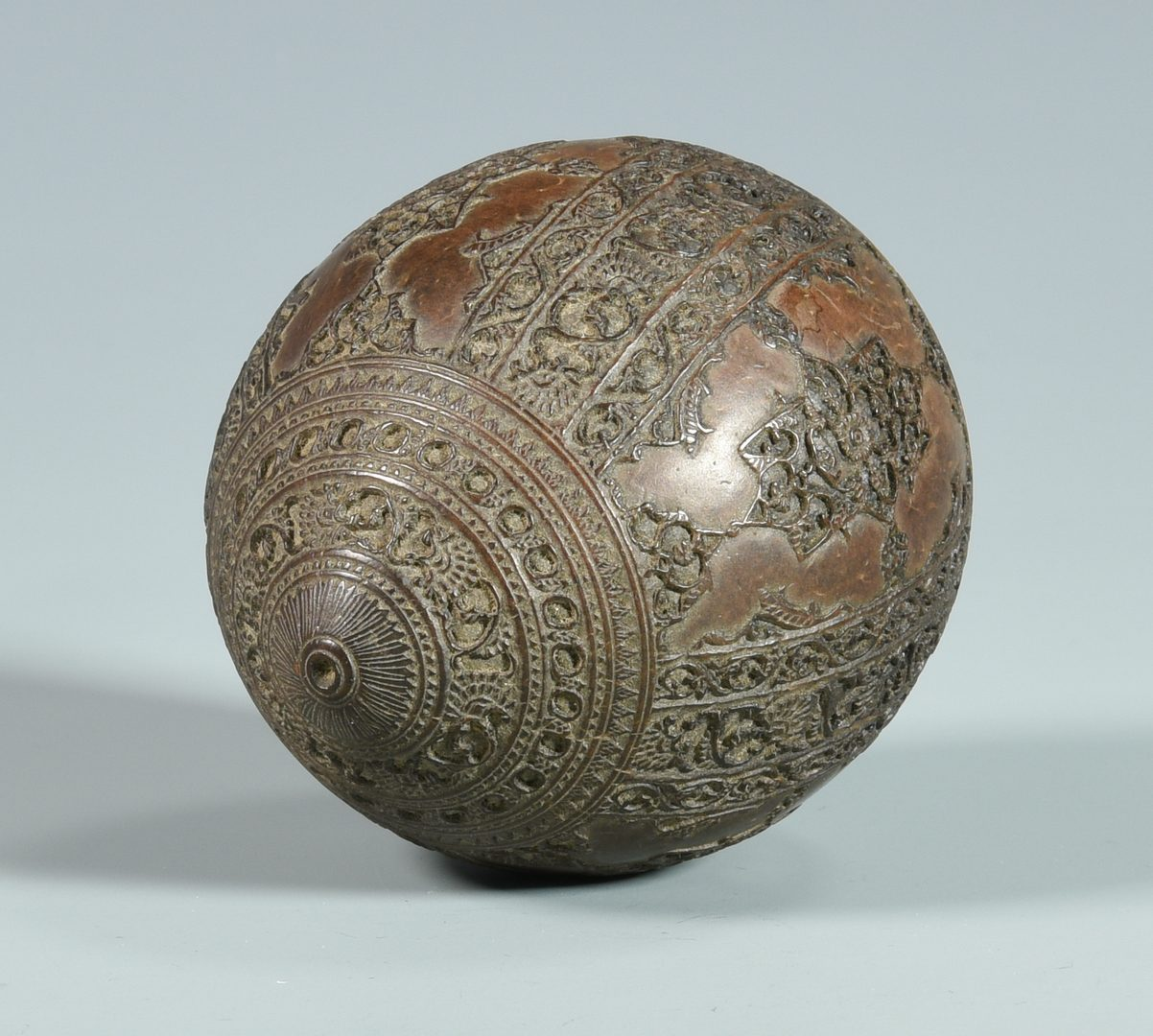 Lot 678: Japanese Inlaid Bronze Box & Carved  Coconut