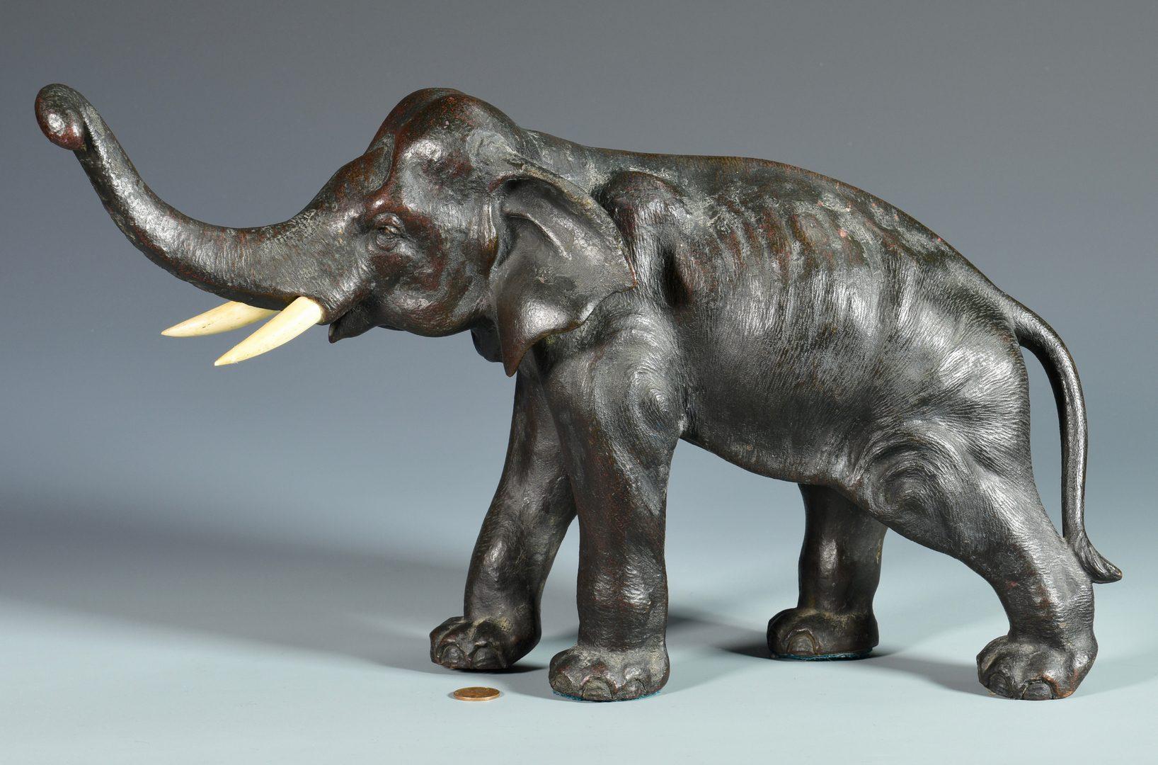 Lot 679: Japanese Bronze Elephant, Marked