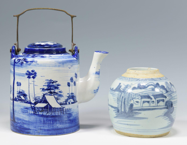Lot 683: 4 Japanese Porcelain Items & Scroll