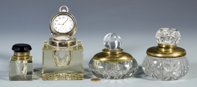 Lot 684: 4 European Glass Inkwells